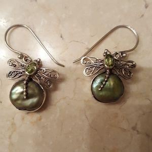 Jewelry - St. Silver Dangle Dragonfly Earrings w/Peridot